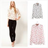 Free shipping 2014 Wholesale POLO Neck Chiffon Lossen Blouse,Women Shirt,Fashion Casual OL Clothes New Style Europen & America