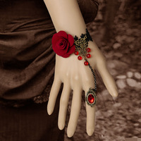 Gothic  lace lolita Vintage royal rose lace vintage bracelet with ring set