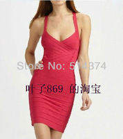 Free shipping pink banquet evening dresses bandage dress slim fashion