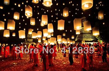 Free Shipping 25pcs/lot Pure White Chinese Wishing Lantern Kongming Lantern ECO Sky Wishing Lantern