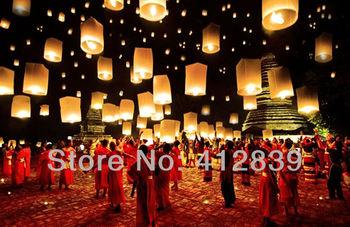 Free Shipping 25pcs/lot Pure White Chinese Wishing Lantern Kongming Lantern ECO Sky Wishing Lantern