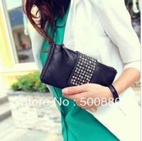 Free shipping 2013 spring black women's handbag rivet clutch day clutch bag clutch purse small bag