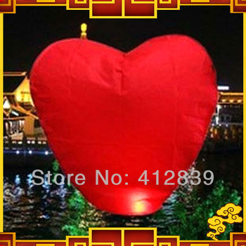 Free shipping 20pcs/lot Red Heart shape Chinese Sky Wish Lantern Ballons Flying Wishing Lamp for Wedding Party