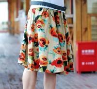 Free ship,lady/women bohemia floral print short skirt plus size skirt 31#