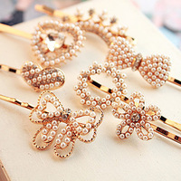 7776 popular hair accessory pearl rhinestone flower love bow hair accessory hairpin side-knotted clip