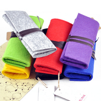 Free Shipping!! Derlook department store lactophrys pure wool felt folding pencil stationery storage bag blue