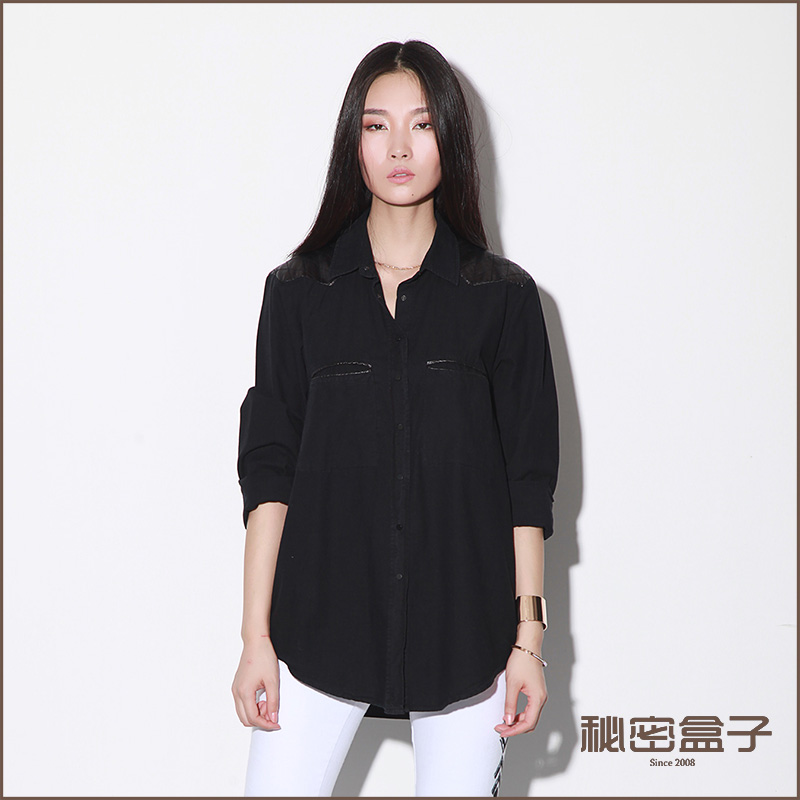 Casual shirt spring straight long-sleeve stand collar medium-long patchwork women's casual shirt(China (Mainland))