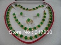 Genuine Set Jewelry green jade necklace bracelet earring Ring New