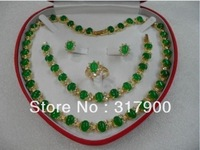 Genuine Set Jewelry green jade necklace bracelet earring Ring New