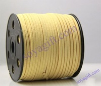 Yellow 10 rools 3x1mm DIY beading Jewelry Suede Leather Cord (please pick up color, mini order 100yard each color