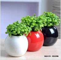 Modern fashion brief decoration indoor lusterware home decoration ceramic  round ball vase with 2 bunch artificial sprout