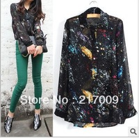 2013 spring new - retro fashion - bright stars - the lapel - long-sleeved chiffon shirt