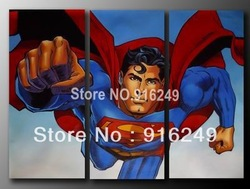 Handpainted Canvas Painting Famous Pop Art Oil Painting Superman 24x12inchx3 pieces(China (Mainland))