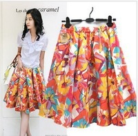 Free shipping lady/women print short skirt beach bohemia a-line skirt orange color