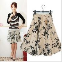 Free shipping women bohemia floral print plus size print skirt women's skirt