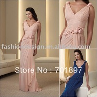 HLM00239   Ladylike rosette sleeveless pleated chiffon mother of bride dress