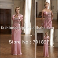 HLM00201  Ladylike strapless big crystals appliqued mother of bride dress
