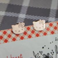 Hello kitt HELLO KITTY 18k titanium rose gold stud earring accessories birthday gift girls