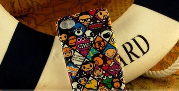 Cartoon design plasic Protective Case/Cover for iphone4/iphone 4s,Drop Shipping+Free Shipping
