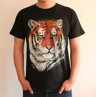 2013 fashion 3DTiger head portrait male t-shirt ,plus size 3d three-dimensional animal,hip-hop dance T-shirt
