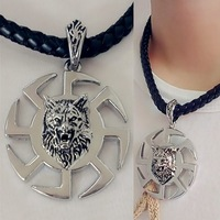Men 50cm Necklace Male Wild 4cm Pendant Fit Europe Fashion Vintage Wolf Head Lobster Clasps NE-003
