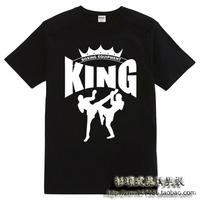Free Shipping Shirt muay thai short sleeve shirt t-shirt male king clothes