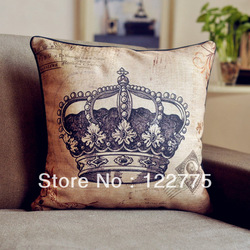 45x45cm Vintage Crown Linen Throw Pillow Case Cushion Cover Pillow Sham(China (Mainland))