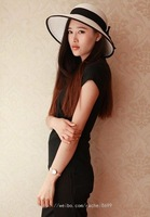 Black and white bow straw hat 2013 ihat sun-shading women's short summer sunscreen
