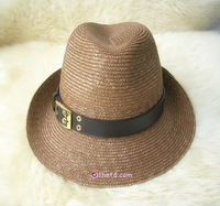 Noble leather buckle on strawhat small fedoras cap fish professional hat
