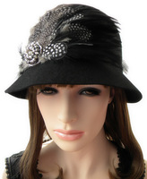 Noble feather rhinestone - 2013 autumn and winter millinery woolen women's dome fedoras ihat wool hat