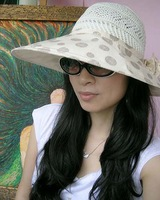 Polka dot and elegant big summer hat flower sun-shading hat fish