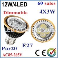 FREE SHIPPING High Quality LED 60pcs/lot Light PAR20 12W Spotlight E27 85-265V Cool White Warm White PAR20 LED Bulb LED lamp