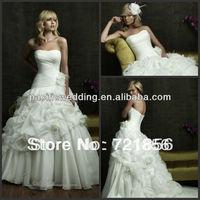 NWD-018 2014 New Arrival Custom Made Sexy Strapless Ball Gown Flower Handmake Beads Crystal Chiffon Wedding Dresses