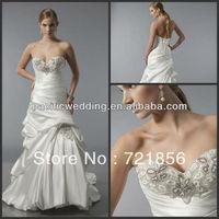 NWD-017 2013 New Arrival Custom Made Sexy Sweetheart Drapped Floor Length Beads Crystal Taffeta Wedding Dresses