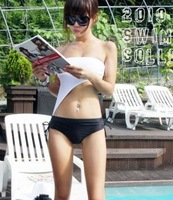 2013 Hot Swim Wear Women Fashion fashion small white tube top one piece bikini slim female hot spring swimwear clothing