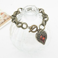 Heart design Hot Sales Ornament Costume Jewelry Wholesale Rhinestone Bracelets Vintage Bangles Distributors Free Shipping