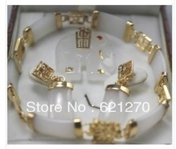 Free shipping.....J604@Charming white jade Elephant pendant bracelet earring set(China (Mainland))