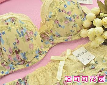Underwear bra set push up rustic yellow chiffon lace sexy young girl