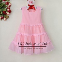 2014 Hot Sellers Girls Formal Dress Girls Pink Printed Princess Dresses Infant Apparel For Baby Clothing WholesaleGD30327-08^^EI