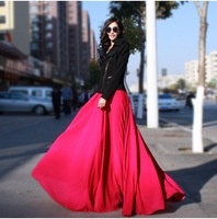 2014 new 8 meters large swing Chiffon Body skirt pleated long skirt