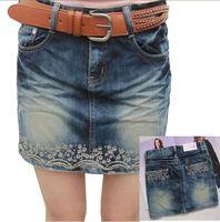 All-match spring and summer embroidery flower slim denim skirt female short skirt bust skirt 909