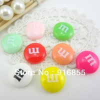 Free shipping 55pcs/lot  very hot and kawaii resin M bean chocolate cabochons 14mm for DIY phone case decoration