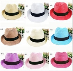 New Fashionable unisex Fedora Straw Hat Cap Sunhat Beach(China (Mainland))