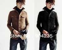 Design Mens Fashion Sexy Slim Fit Buttoned woolen Coat Jacket Black Khaki