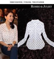 Free Shipping 2014 New Black Dot Loose Clothing Women Casual Blouse Long Sleeve Shirts OL Fashion