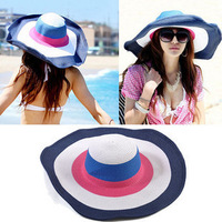 50+ UPF Beach Summer Stripe Shapeable Wire Wide 6inch Brim Floppy Sun Hat Cap Black