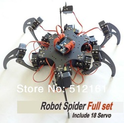 Full Set Robot Hexapod Spider Arduino Board Six 3DOF Legs Frame Kit &amp; 18 Servo(China (Mainland))