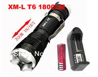Ultrafire 1600LM CREE XM-L T6 Zoomable 7mode LED Flashlight Torch +1*18650 4000mah battery + charger