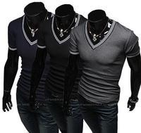Free shipping 2013  new spring men s short sleeve fashion simple  v neck slim fit t shirts blue gray black  PQ14