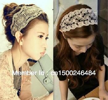 2013 fashion women headband,lace flower hair band,6.5 cm width stylish hair accessory